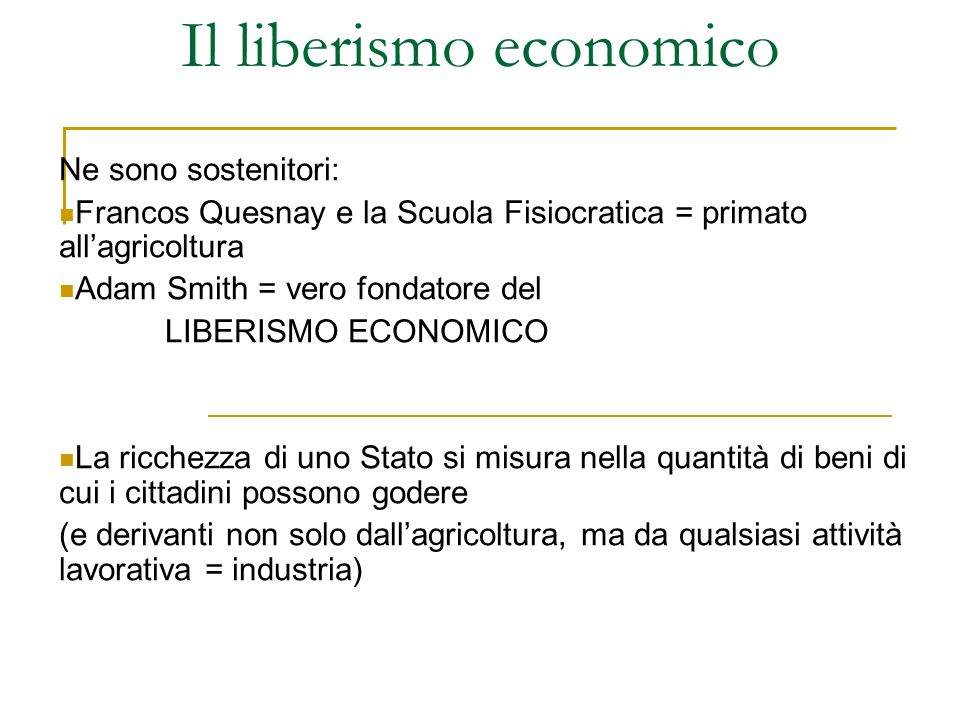 Il liberismo economico