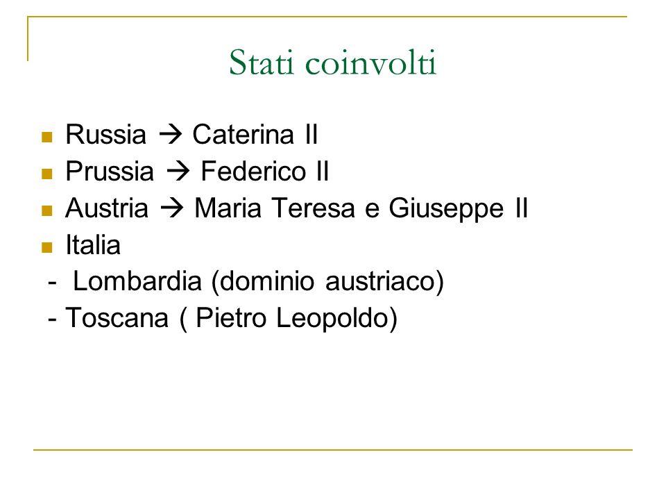 Stati coinvolti Russia  Caterina II Prussia  Federico II
