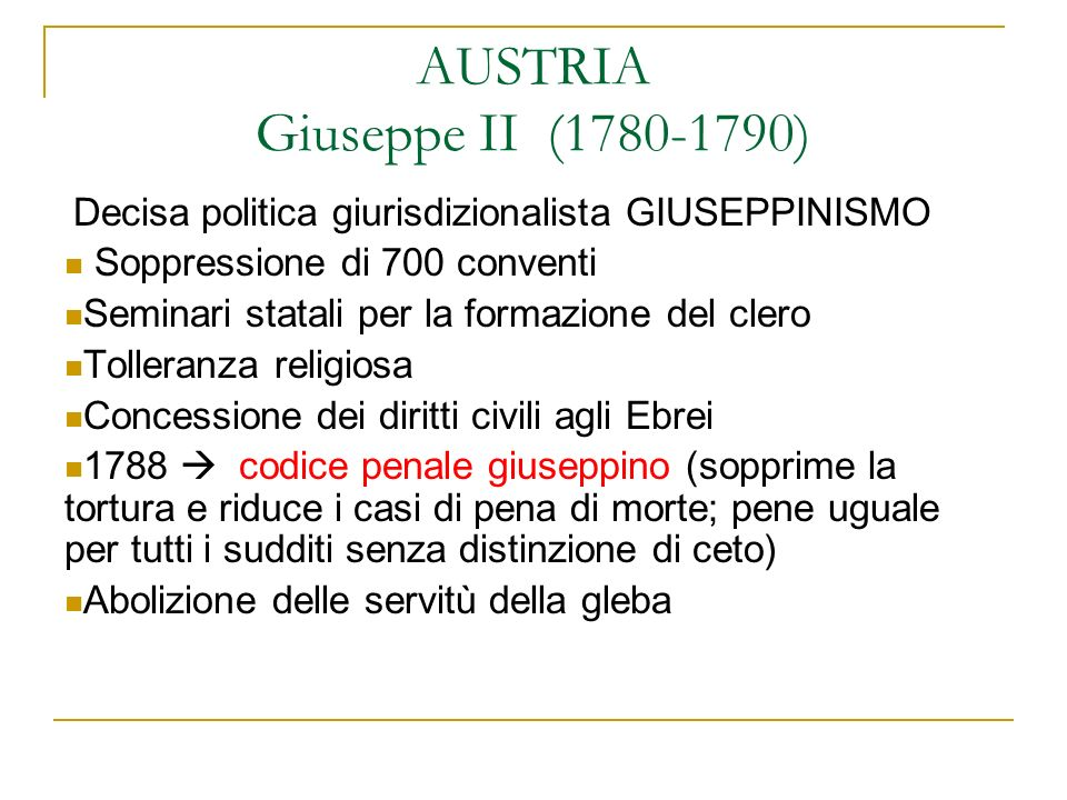 AUSTRIA Giuseppe II (1780-1790)
