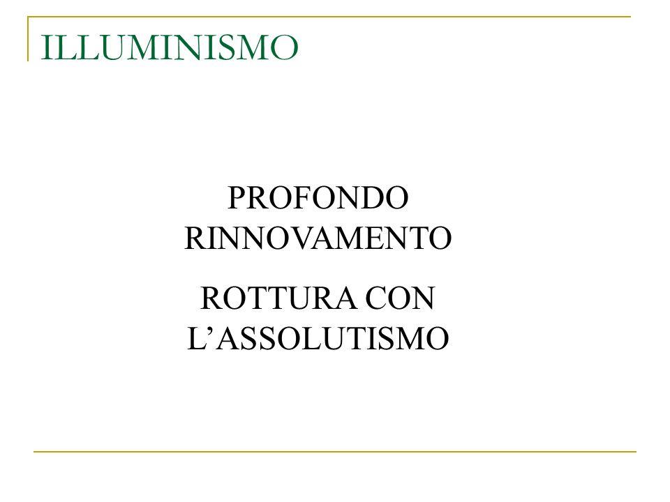 ILLUMINISMO PROFONDO RINNOVAMENTO ROTTURA CON L'ASSOLUTISMO