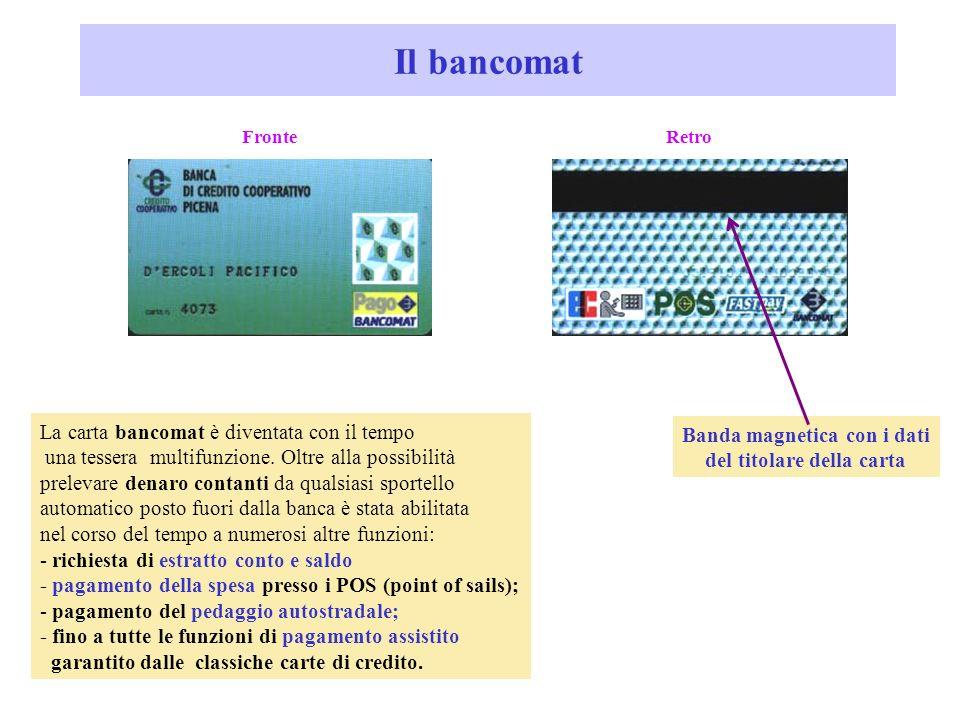 Banda magnetica con i dati del titolare della carta