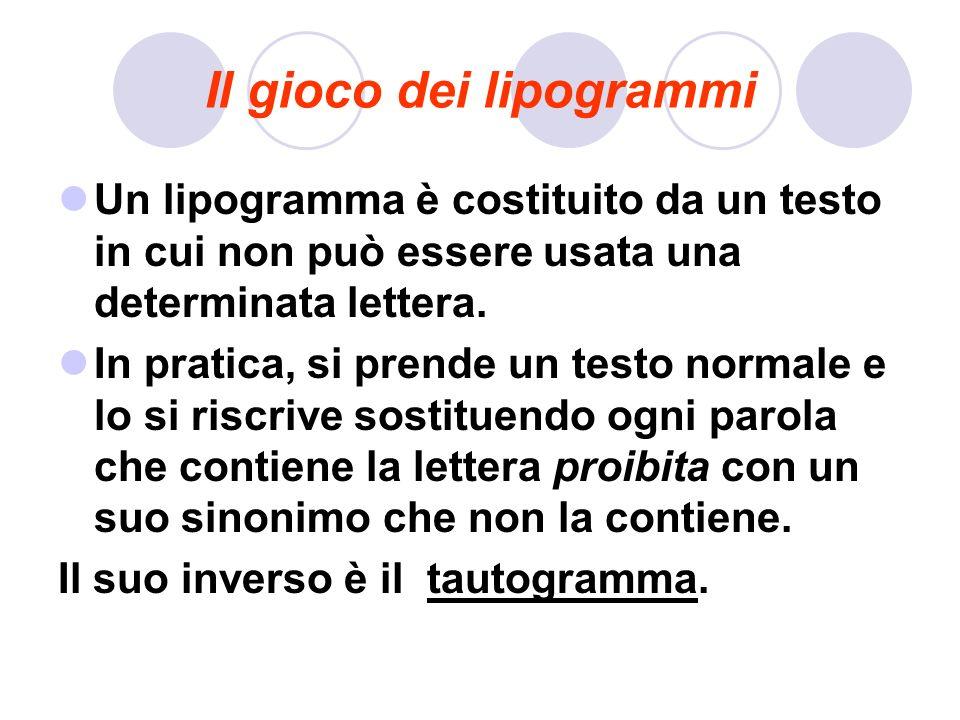 Il gioco dei lipogrammi