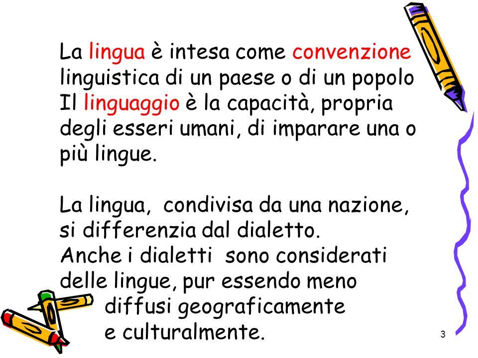 La lingua è intesa come convenzione linguistica di un paese o di un popolo