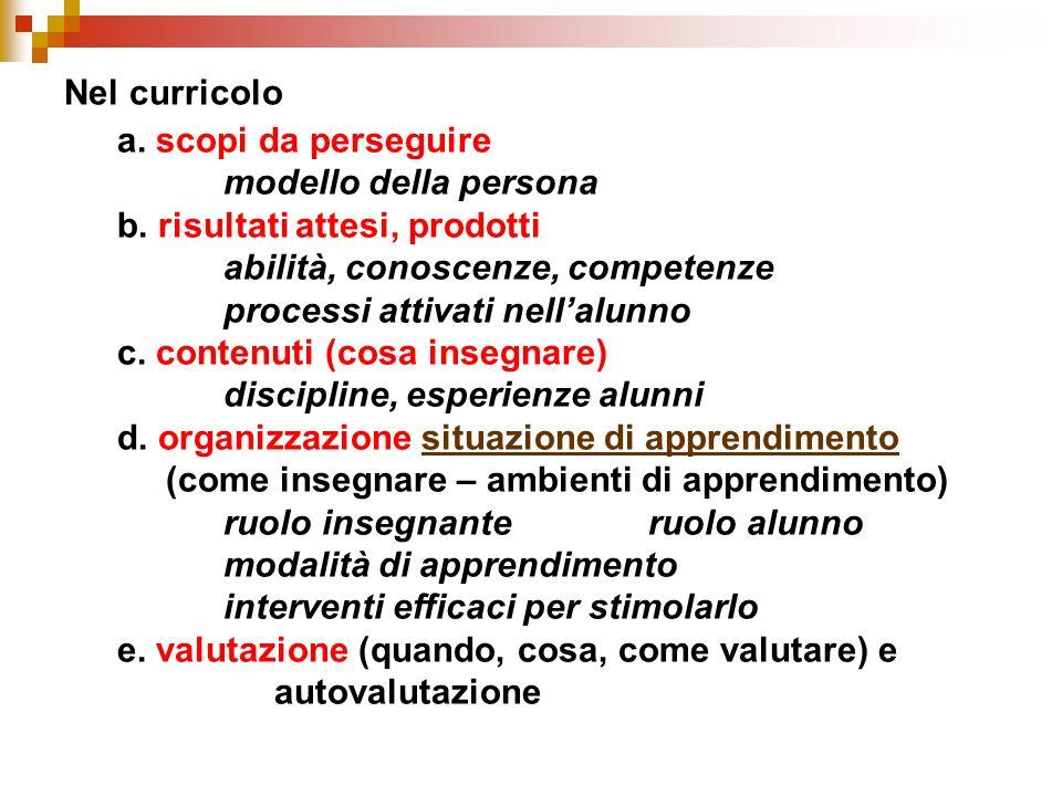 b. risultati attesi, prodotti abilità, conoscenze, competenze