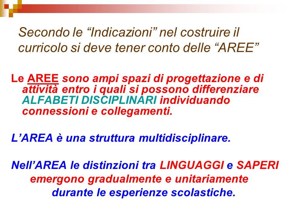 Secondo le Indicazioni nel costruire il curricolo si deve tener conto delle AREE