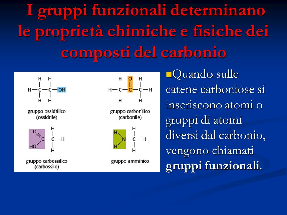 I gruppi funzionali determinano le proprietà chimiche e fisiche dei composti del carbonio