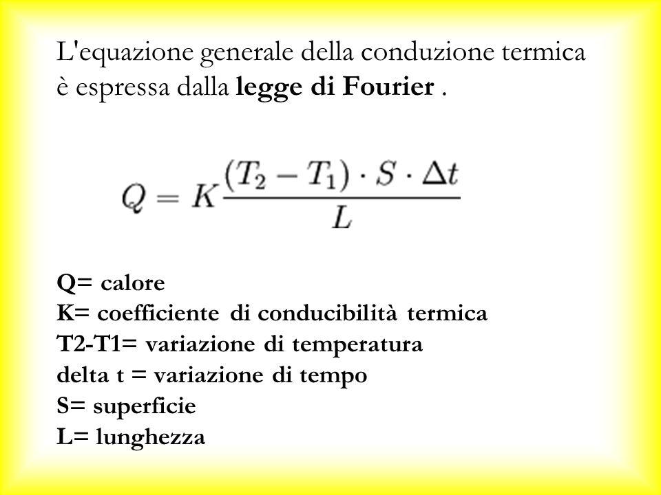 L equazione generale della conduzione termica è espressa dalla legge di Fourier .