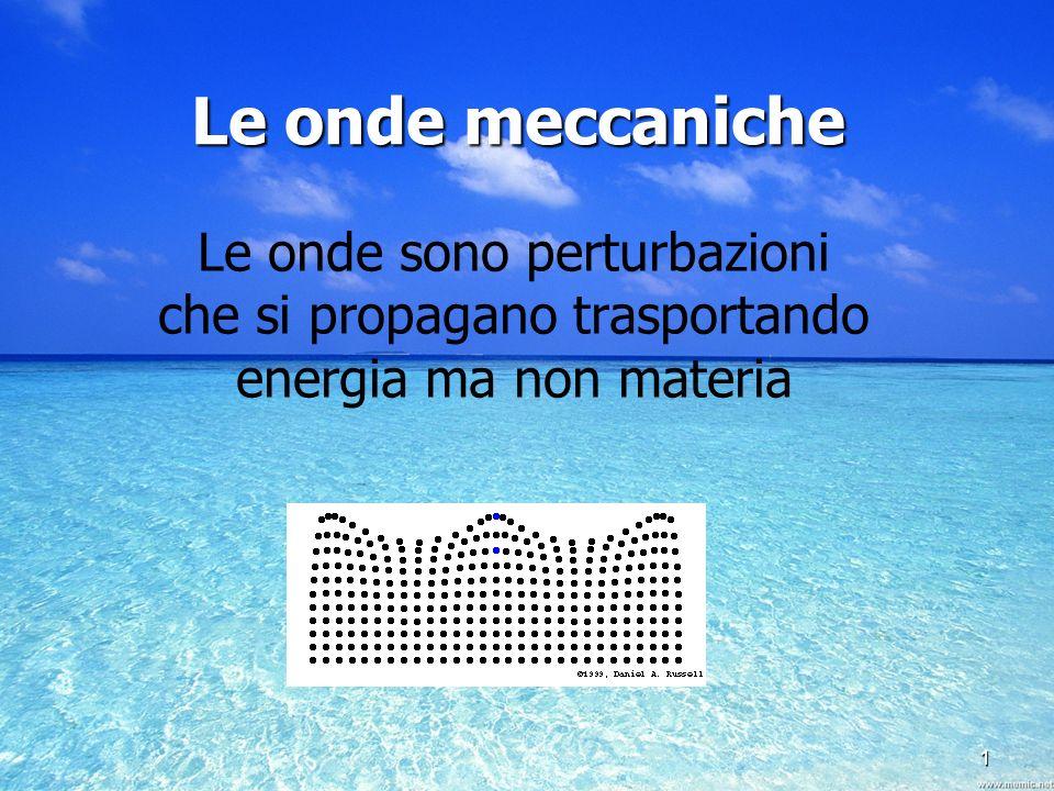 1 Le onde meccaniche. Le onde sono perturbazioni che si propagano trasportando energia ma non materia.