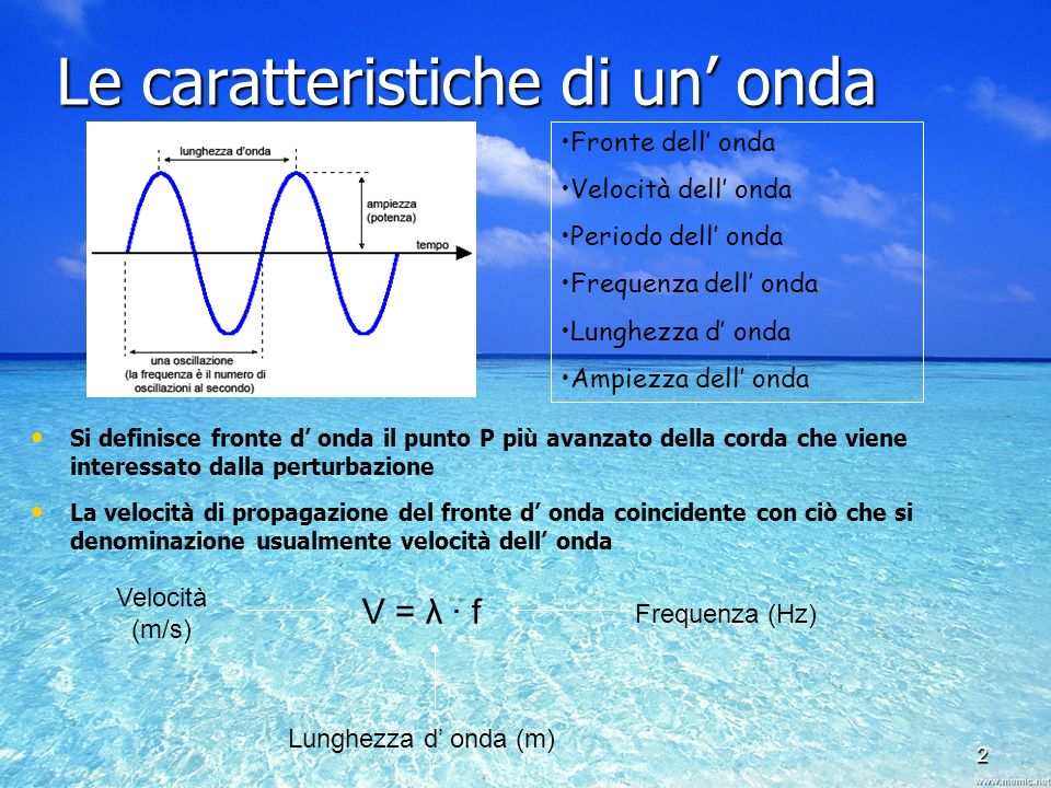 Le caratteristiche di un' onda
