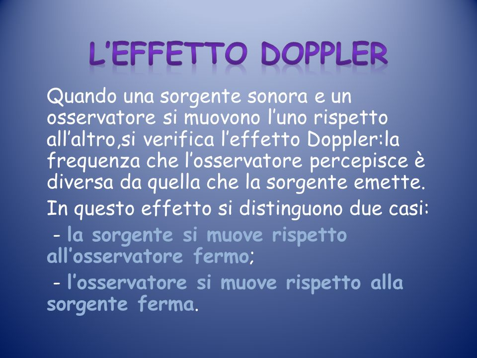 L'effetto doppler