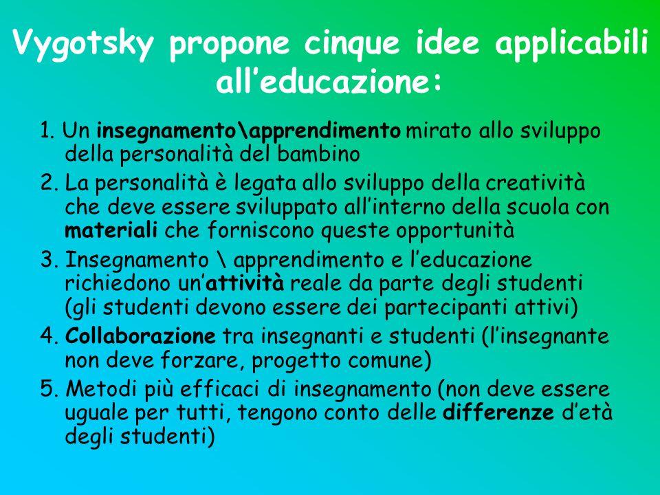 Vygotsky propone cinque idee applicabili all'educazione: