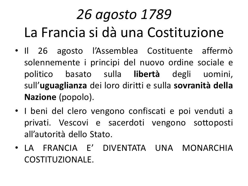 26 agosto 1789 La Francia si dà una Costituzione