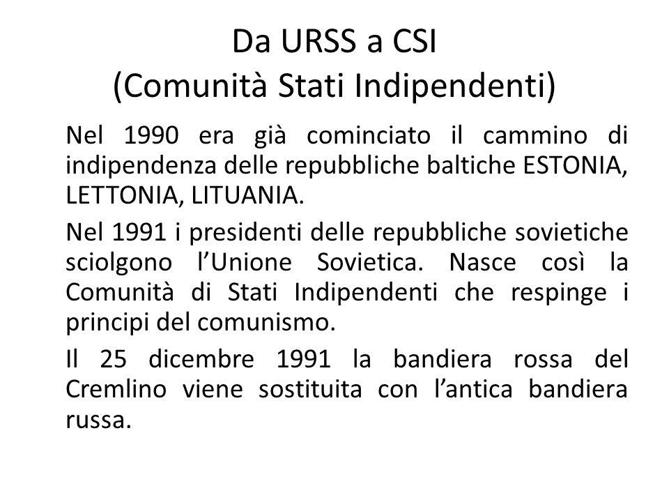 Da URSS a CSI (Comunità Stati Indipendenti)