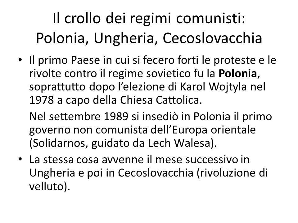 Il crollo dei regimi comunisti: Polonia, Ungheria, Cecoslovacchia