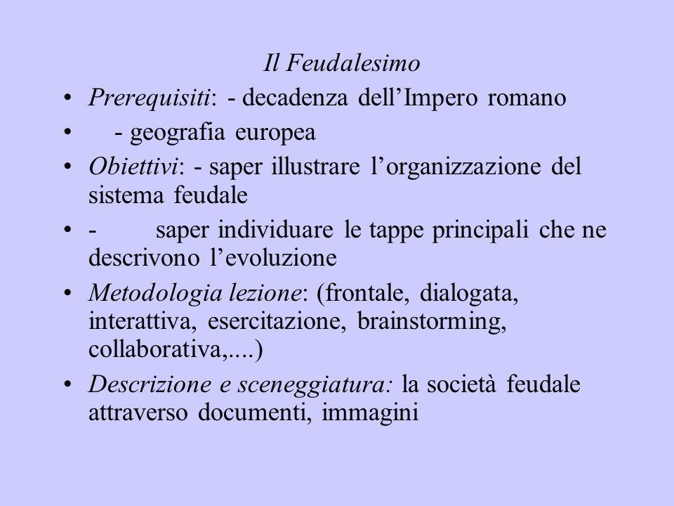 Il Feudalesimo Prerequisiti: - decadenza dell'Impero romano. - geografia europea.