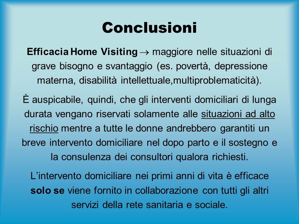 Conclusioni Efficacia Home Visiting  maggiore nelle situazioni di