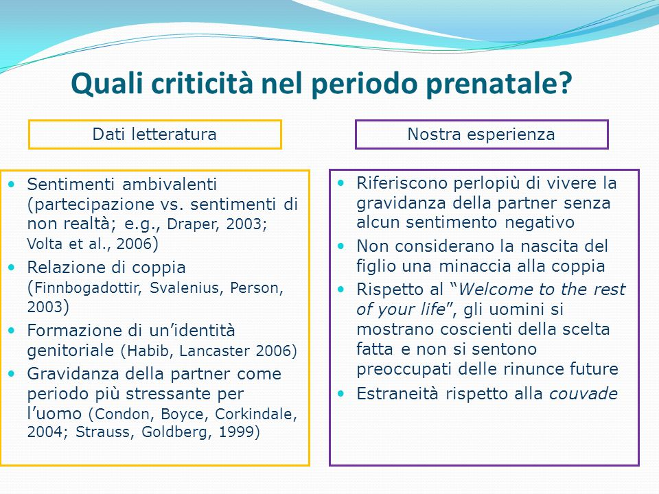 Quali criticità nel periodo prenatale