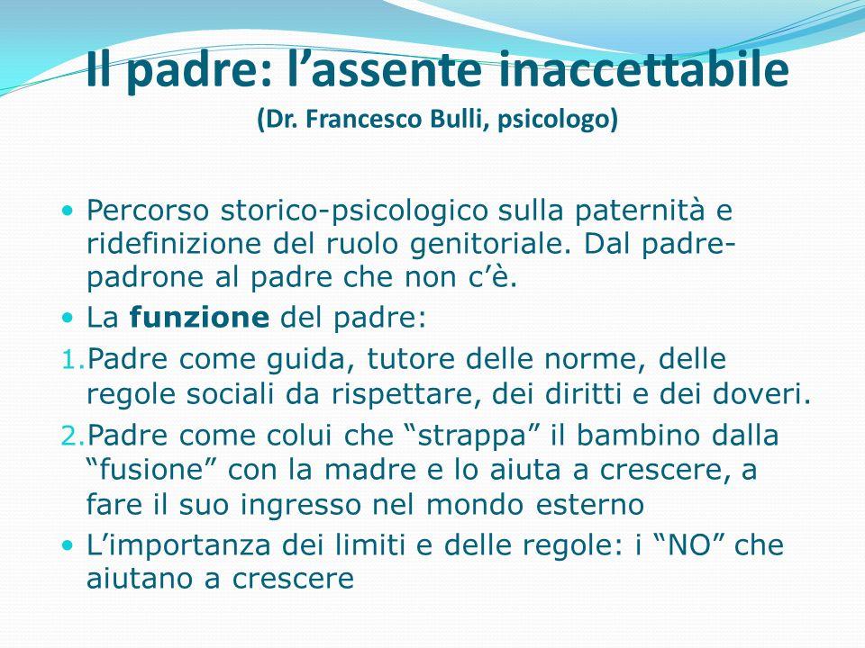 Il padre: l'assente inaccettabile (Dr. Francesco Bulli, psicologo)