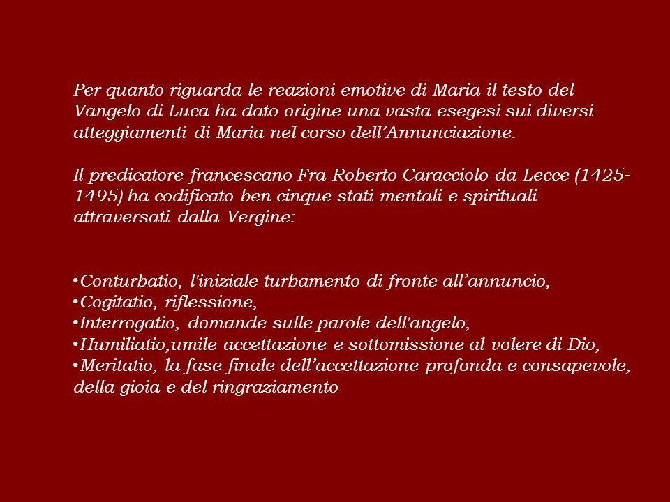 Per quanto riguarda le reazioni emotive di Maria il testo del Vangelo di Luca ha dato origine una vasta esegesi sui diversi atteggiamenti di Maria nel corso dell'Annunciazione.