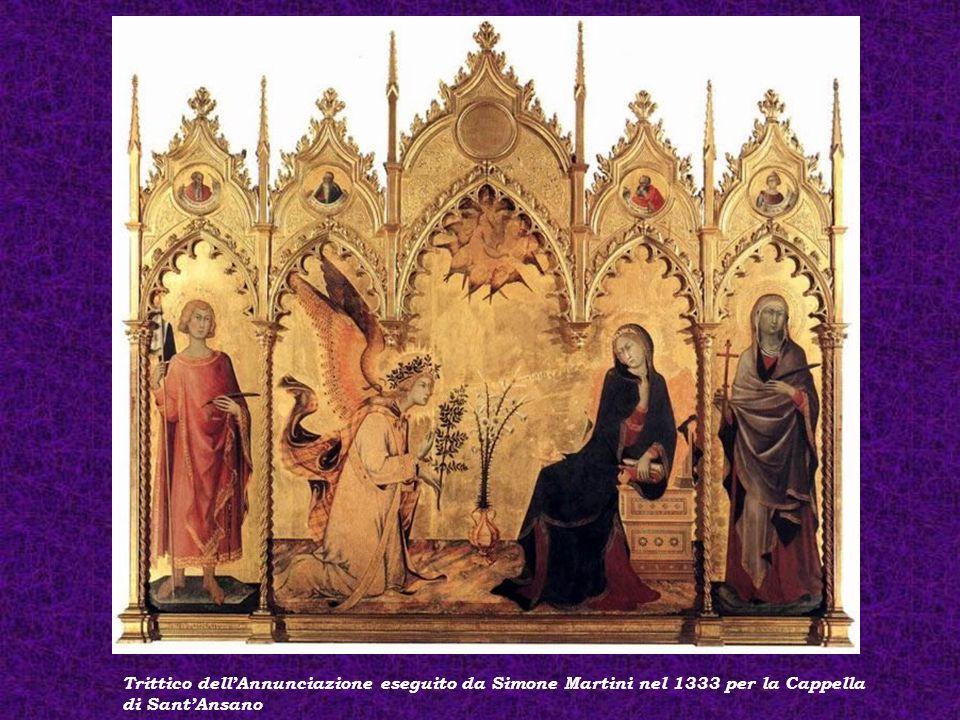 Trittico dell'Annunciazione eseguito da Simone Martini nel 1333 per la Cappella di Sant'Ansano