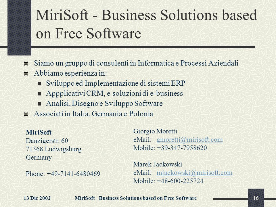 MiriSoft - Business Solutions based on Free Software