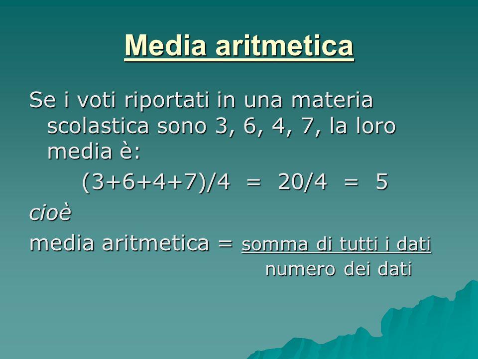 Media aritmetica Se i voti riportati in una materia scolastica sono 3, 6, 4, 7, la loro media è: (3+6+4+7)/4 = 20/4 = 5.