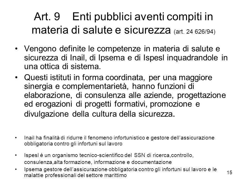 Art. 9 Enti pubblici aventi compiti in materia di salute e sicurezza (art. 24 626/94)