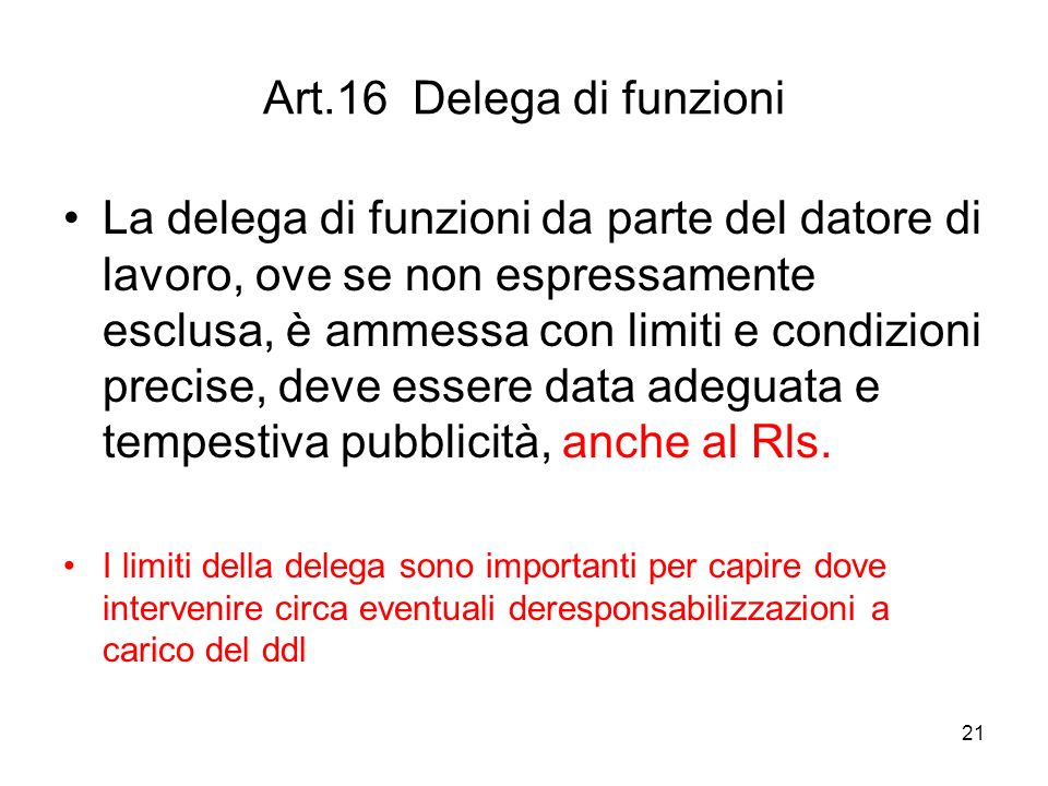 Art.16 Delega di funzioni