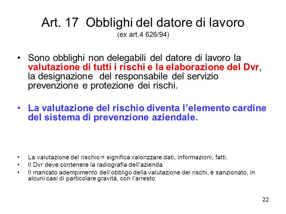 Art. 17 Obblighi del datore di lavoro (ex art.4 626/94)