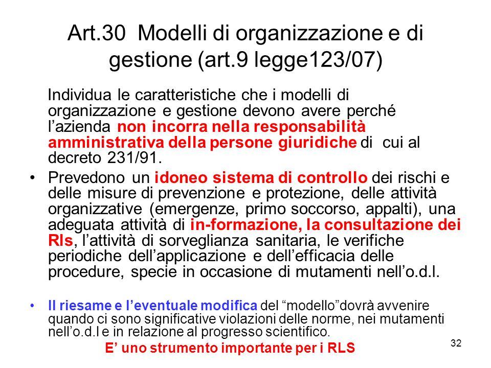 Art.30 Modelli di organizzazione e di gestione (art.9 legge123/07)