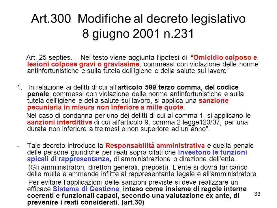 Art.300 Modifiche al decreto legislativo 8 giugno 2001 n.231