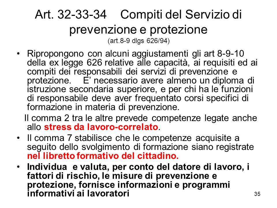 Art. 32-33-34 Compiti del Servizio di prevenzione e protezione (art