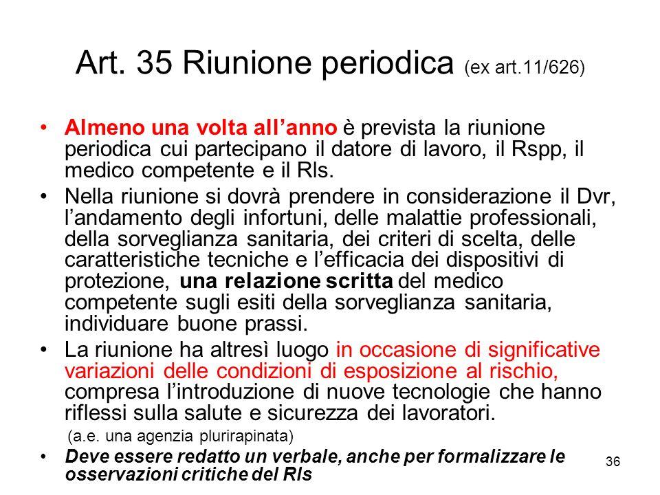 Art. 35 Riunione periodica (ex art.11/626)