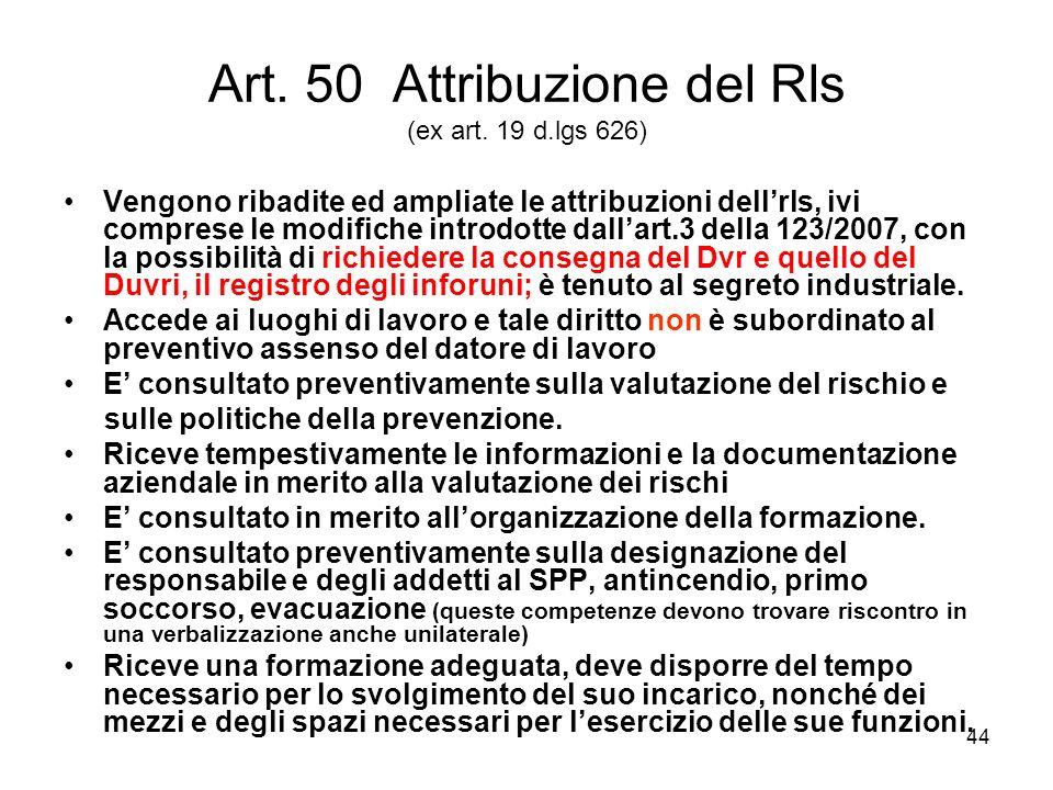 Art. 50 Attribuzione del Rls (ex art. 19 d.lgs 626)