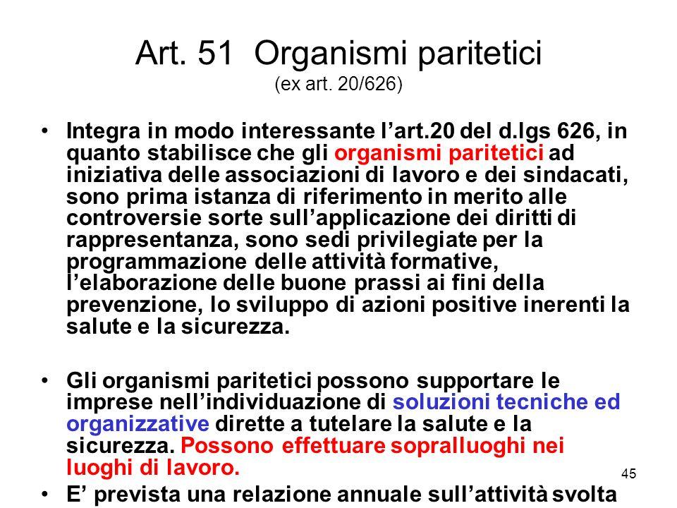 Art. 51 Organismi paritetici (ex art. 20/626)