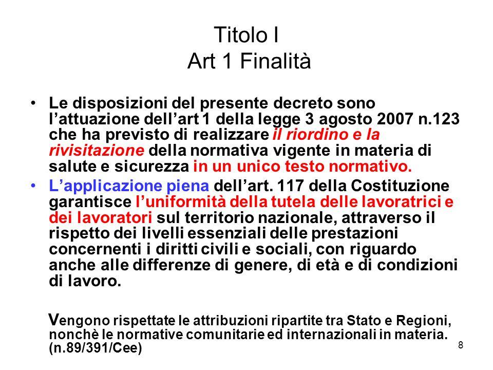 Titolo I Art 1 Finalità