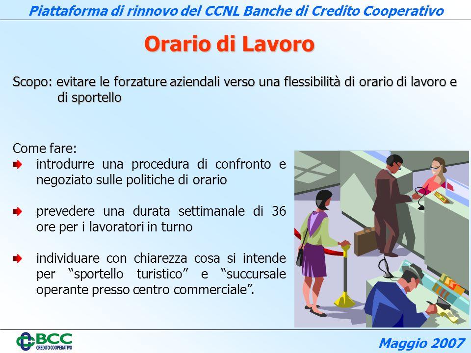 Orario di Lavoro Scopo: evitare le forzature aziendali verso una flessibilità di orario di lavoro e di sportello.