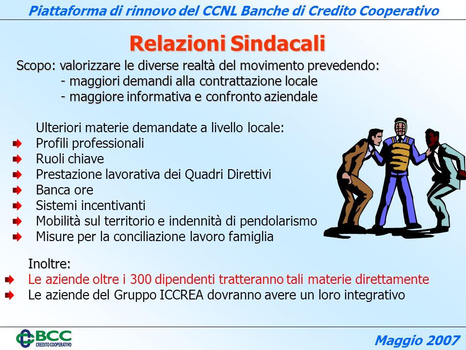 Relazioni Sindacali Scopo: valorizzare le diverse realtà del movimento prevedendo: - maggiori demandi alla contrattazione locale.