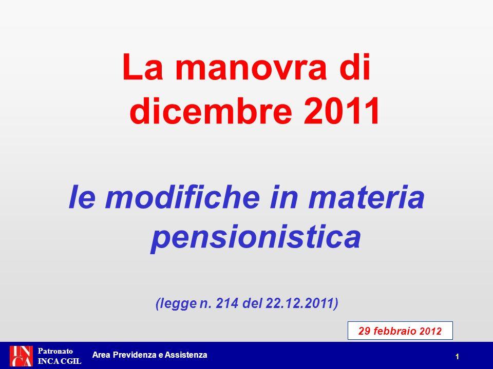 le modifiche in materia pensionistica
