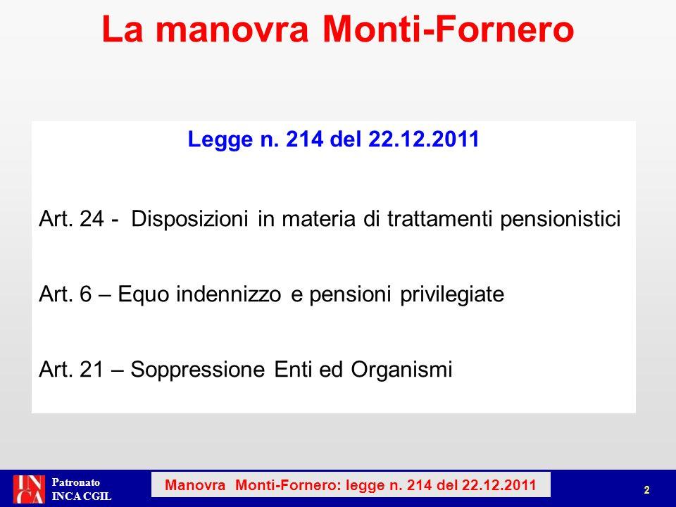 La manovra Monti-Fornero