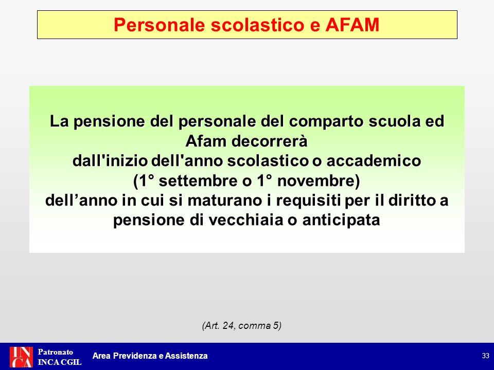 Personale scolastico e AFAM