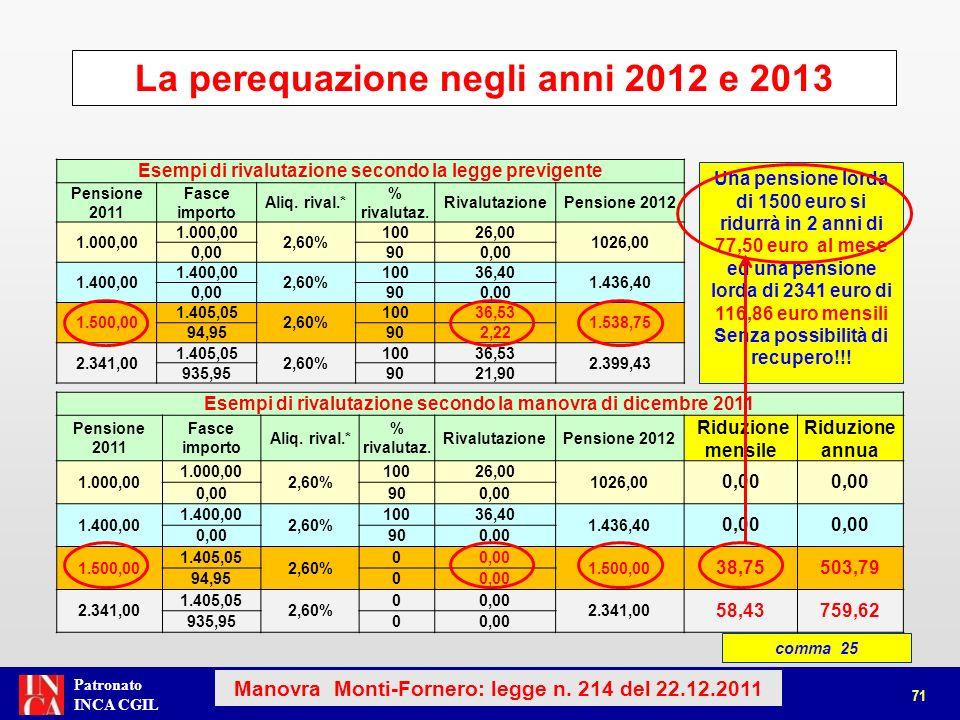 La perequazione negli anni 2012 e 2013