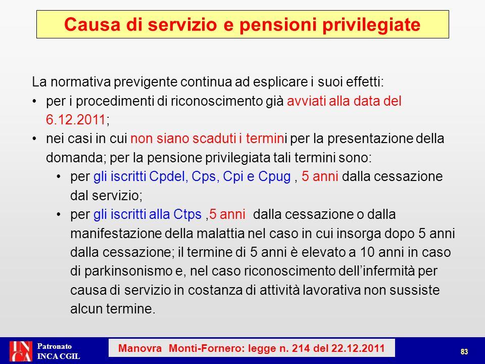 Causa di servizio e pensioni privilegiate