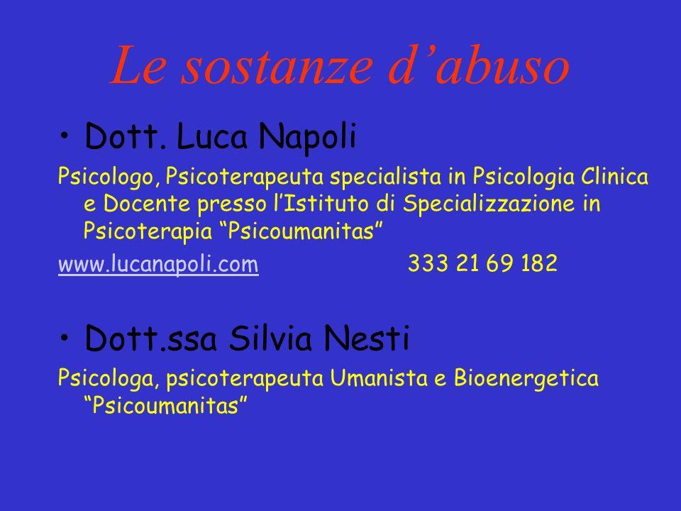 Le sostanze d'abuso Dott. Luca Napoli Dott.ssa Silvia Nesti