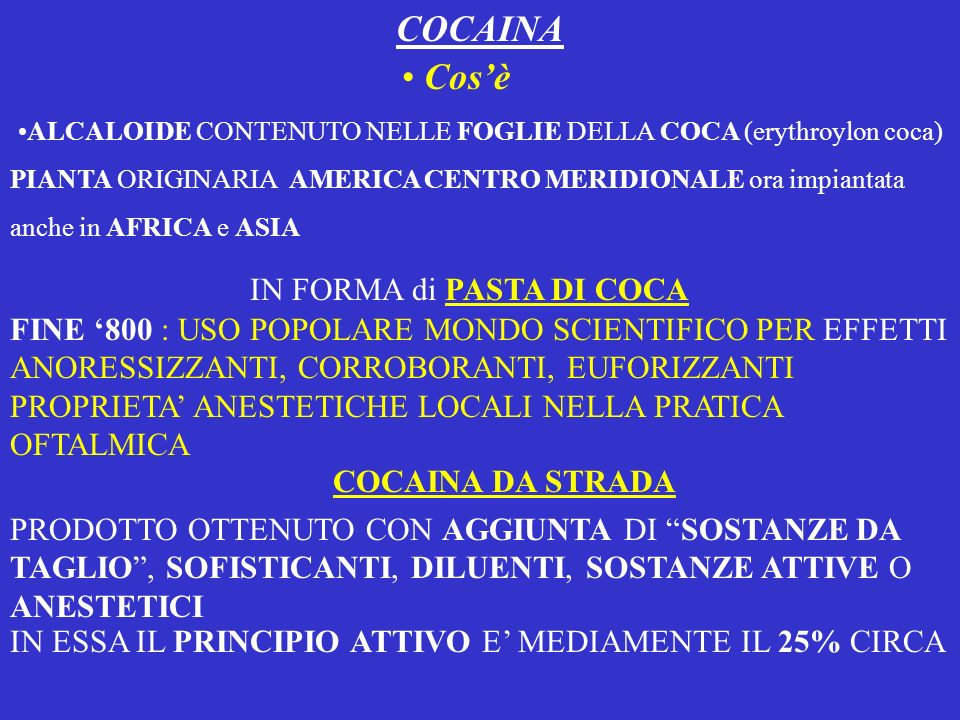 ALCALOIDE CONTENUTO NELLE FOGLIE DELLA COCA (erythroylon coca)
