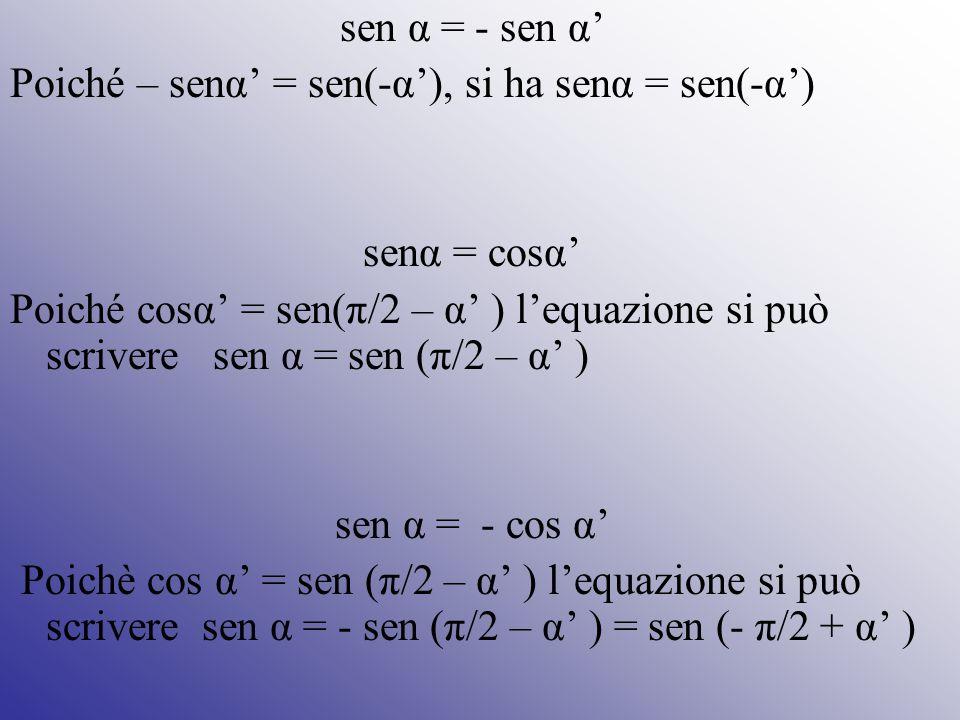 sen α = - sen α' Poiché – senα' = sen(-α'), si ha senα = sen(-α') senα = cosα'
