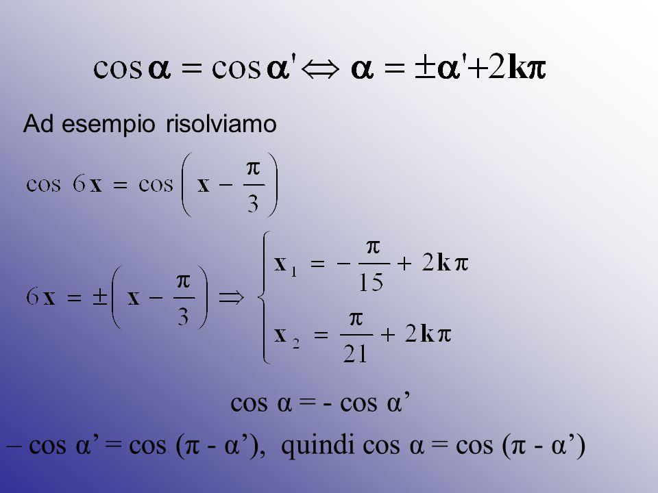 – cos α' = cos (π - α'), quindi cos α = cos (π - α')