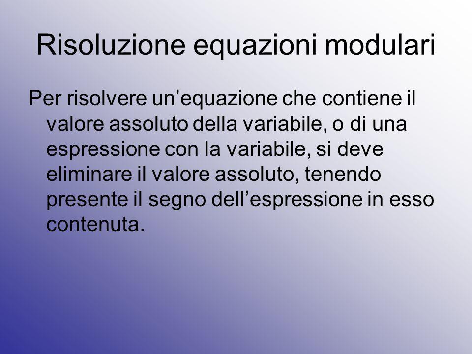 Risoluzione equazioni modulari