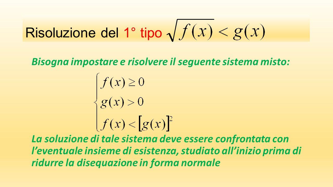 Risoluzione del 1° tipo Bisogna impostare e risolvere il seguente sistema misto: