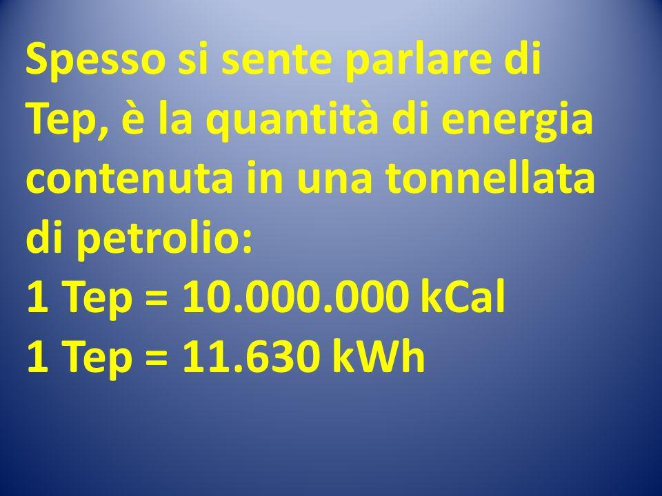 Spesso si sente parlare di Tep, è la quantità di energia contenuta in una tonnellata di petrolio: